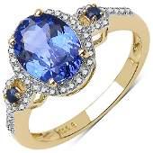 217 CTW Tanzanite Blue Sapphire  Diamond Ring 10K