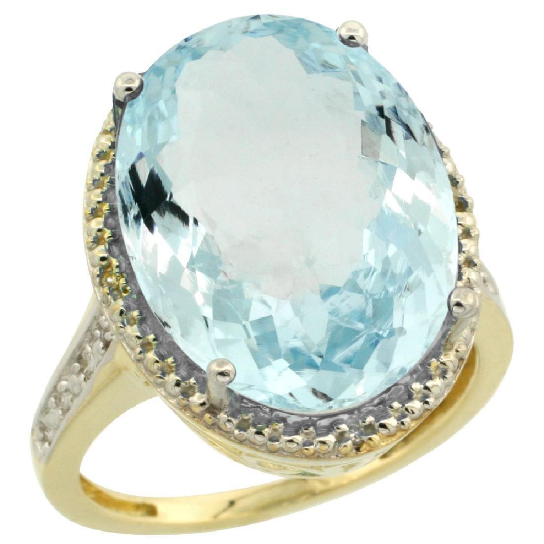 Natural 13.6 ctw Aquamarine & Diamond Engagement Ring