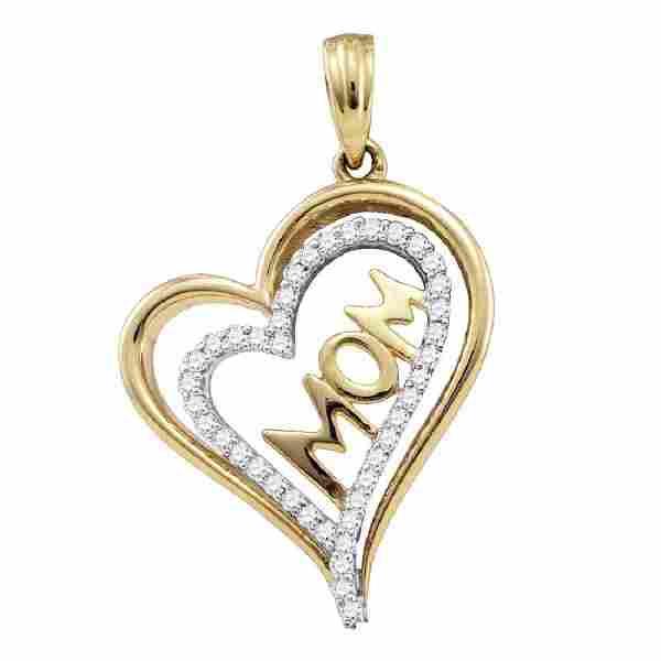 0.21 CTW Diamond Mom Mother Heart Pendant 10KT Yellow