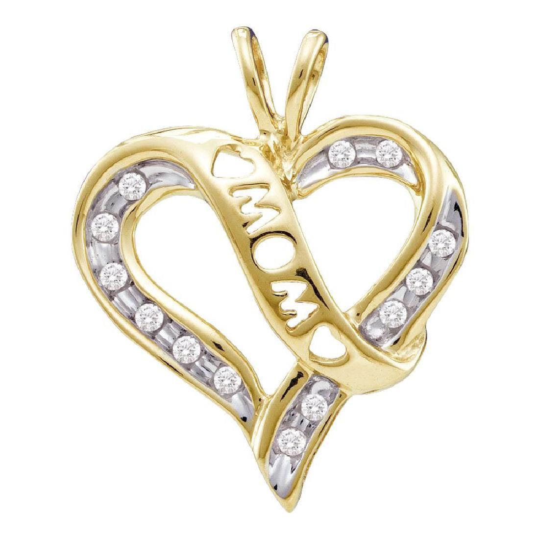 0.12 CTW Diamond Mom Mothers Heart Love Pendant 10KT