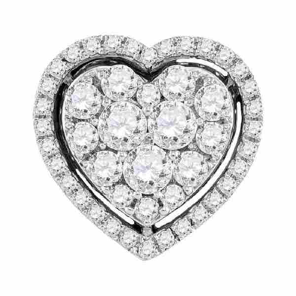 1 CTW Diamond Heart Cluster Pendant 10KT White Gold -