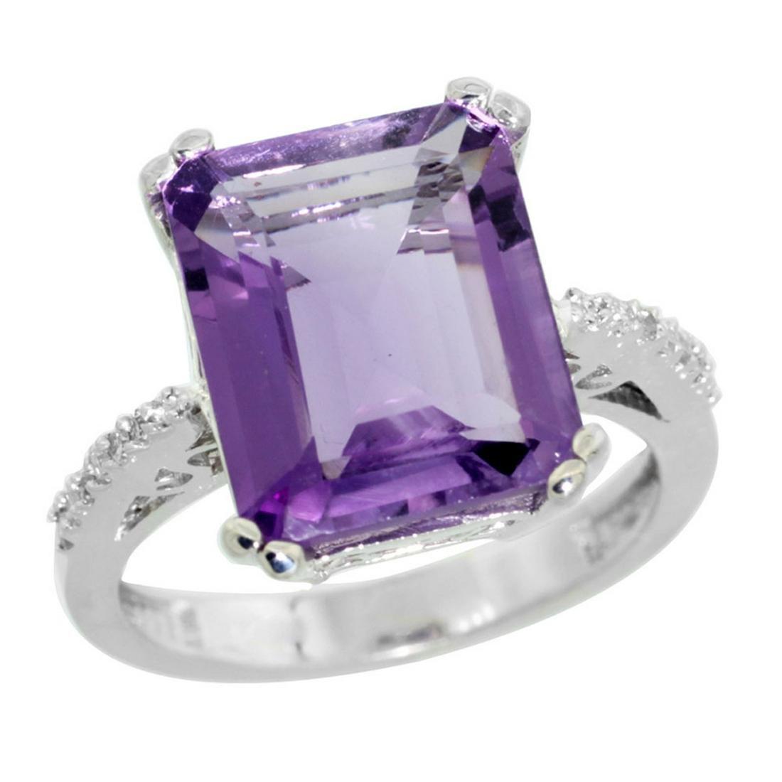Natural 5.48 ctw amethyst & Diamond Engagement Ring 14K