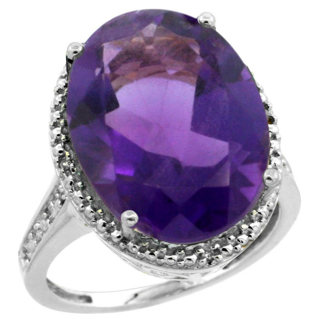 Natural 13.6 ctw Amethyst & Diamond Engagement Ring 14K