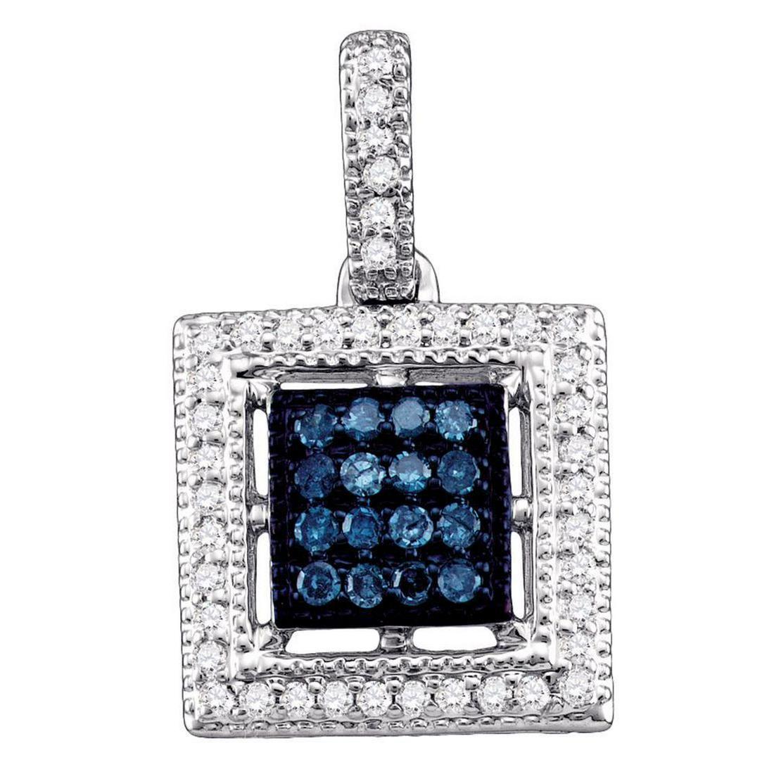 0.20 CTW Blue Color Diamond Square Cluster Pendant 10KT