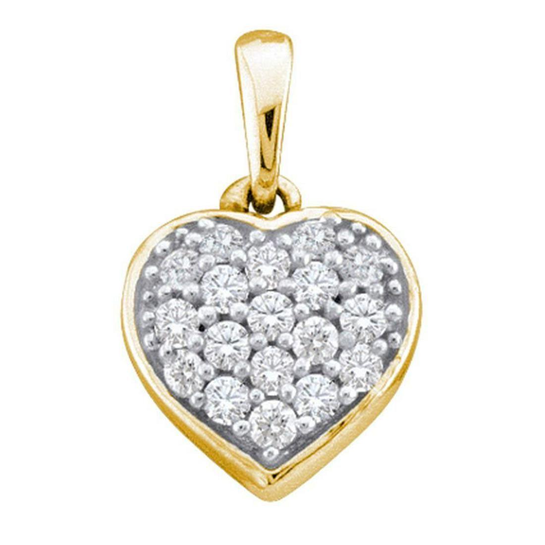 0.10 CTW Diamond Small Heart Cluster Pendant 14KT