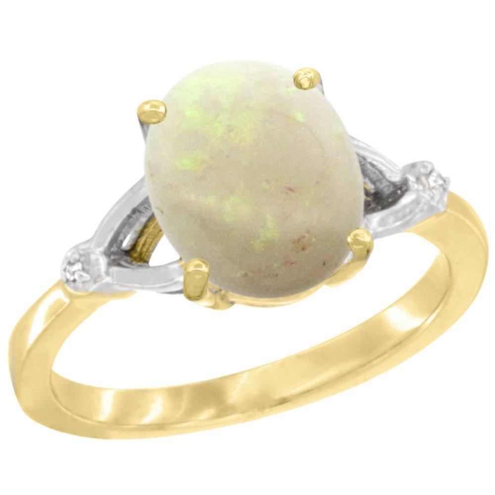 Natural 1.42 ctw Opal & Diamond Engagement Ring 14K