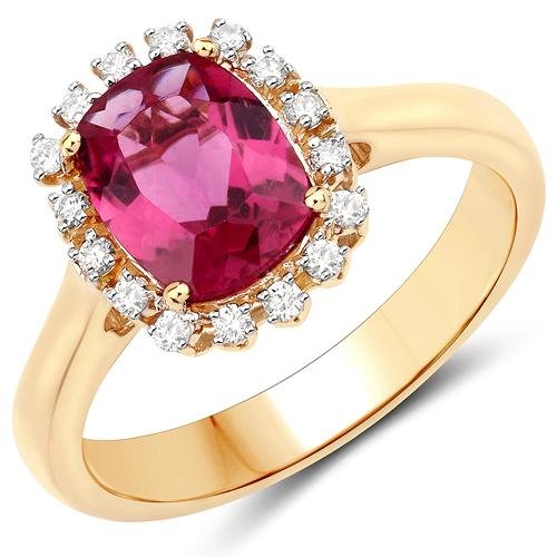 2.10 CTW Rubellite & Diamond Ring 14K Yellow Gold -