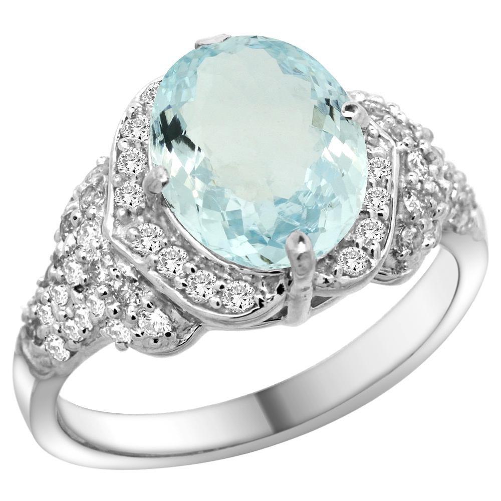 Natural 2.62 ctw aquamarine & Diamond Engagement Ring