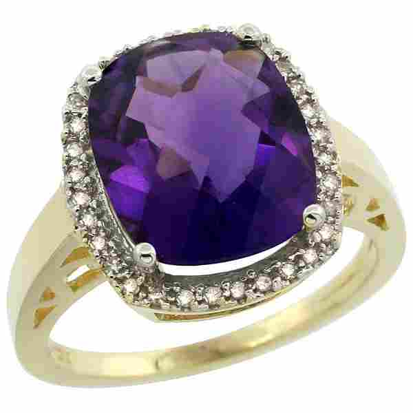 Natural 5.28 ctw Amethyst & Diamond Engagement Ring 10K