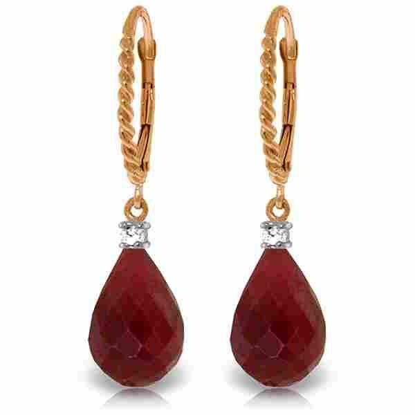 Genuine 17.7 ctw Ruby & Diamond Earrings Jewelry 14KT