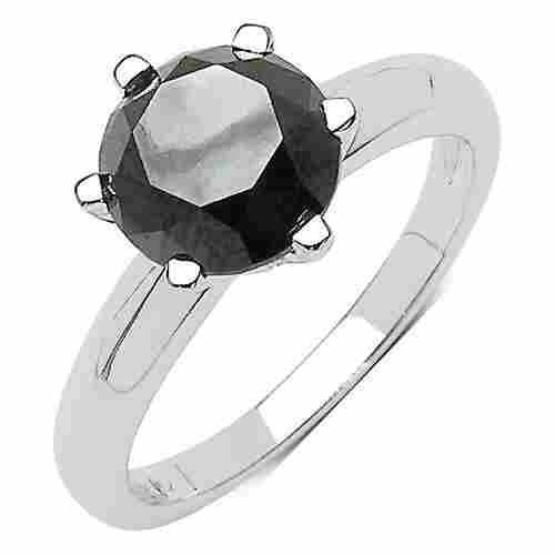 3.96 CTW Black Diamond Ring 10K White Gold - REF-121V2Y