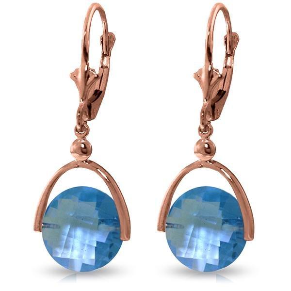 Genuine 6.5 ctw Blue Topaz Earrings Jewelry 14KT Rose