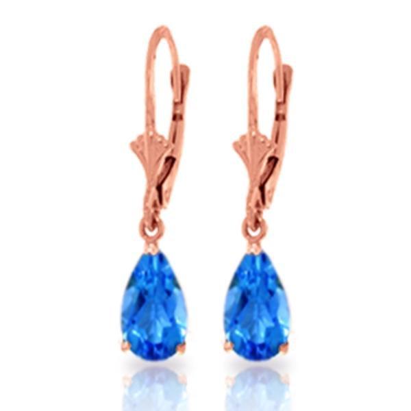 Genuine 3.77 ctw Blue Topaz Earrings Jewelry 14KT Rose