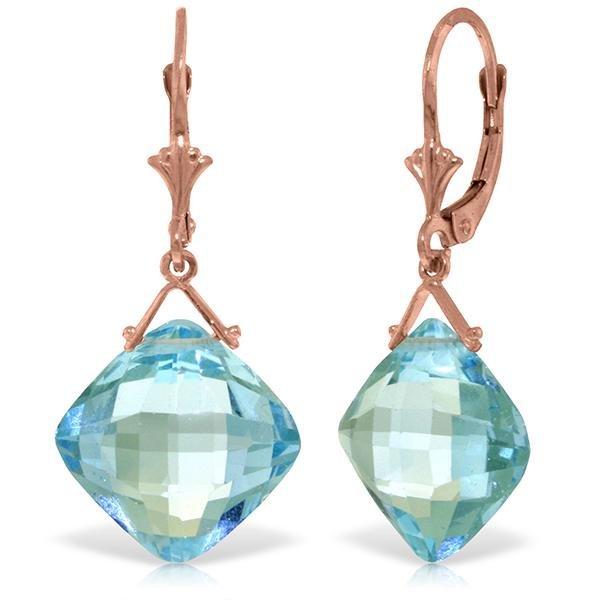 Genuine 17.5 ctw Blue Topaz Earrings Jewelry 14KT Rose