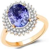 359 CTW Tanzanite  Diamond Ring Ring 14K Yellow Gold
