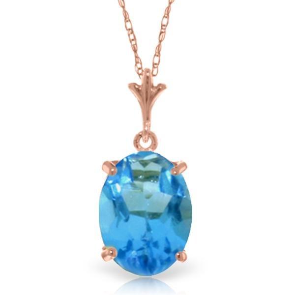Genuine 3.12 ctw Blue Topaz Necklace Jewelry 14KT Rose