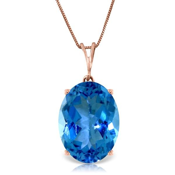 Genuine 8 ctw Blue Topaz Necklace Jewelry 14KT Rose