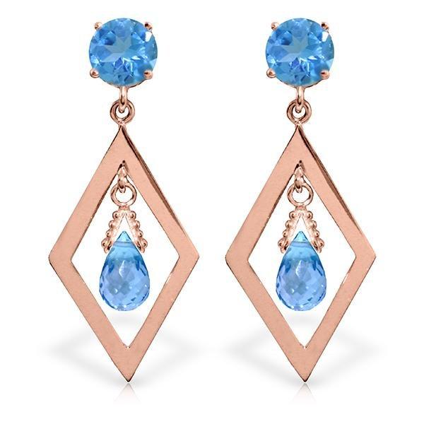 Genuine 2.4 ctw Blue Topaz Earrings Jewelry 14KT Rose