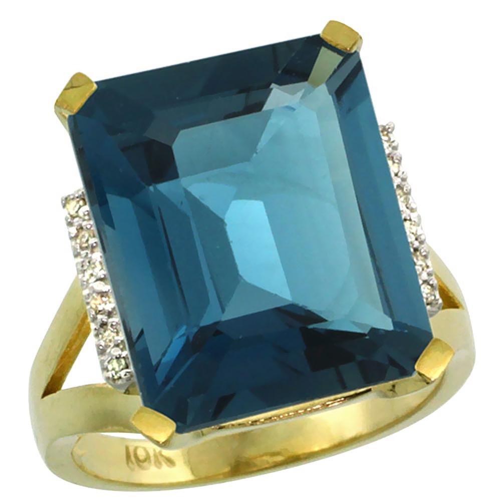 Natural 12.13 ctw London-blue-topaz & Diamond