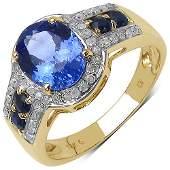 246 CTW Tanzanite Blue Sapphire  Diamond Ring 10K