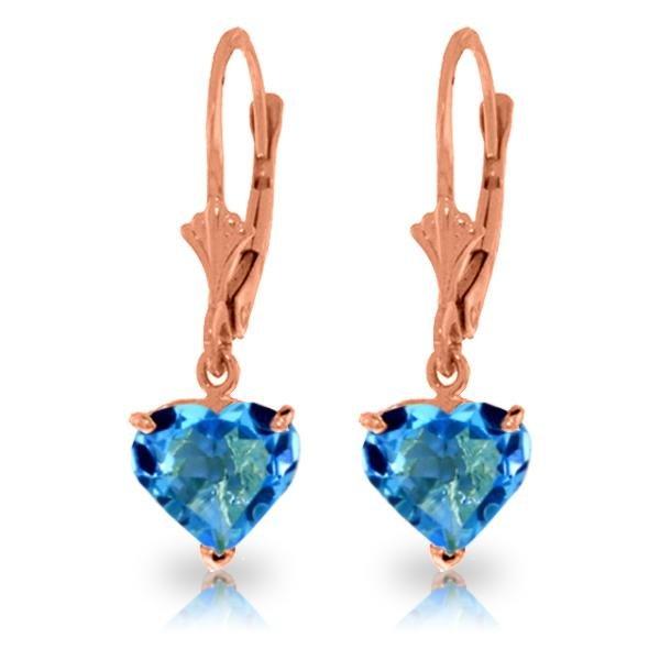 Genuine 3.25 ctw Blue Topaz Earrings Jewelry 14KT Rose