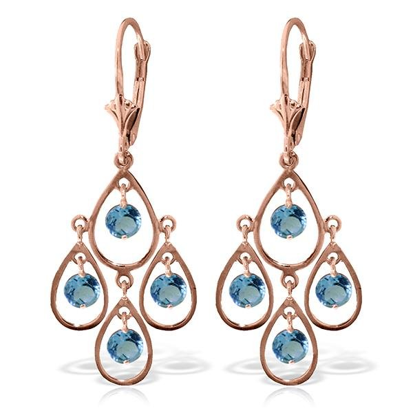 Genuine 2.4 ctw Blue Topaz Earrings Jewelry 14KT Rose