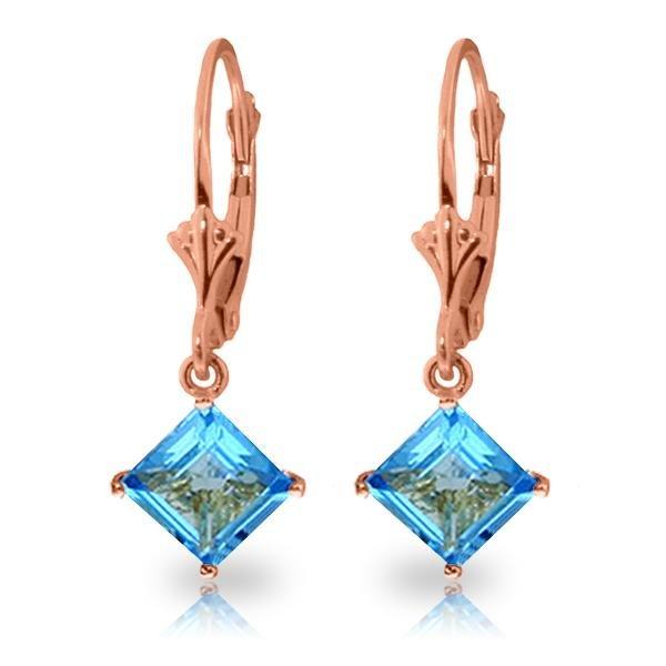 Genuine 3.2 ctw Blue Topaz Earrings Jewelry 14KT Rose