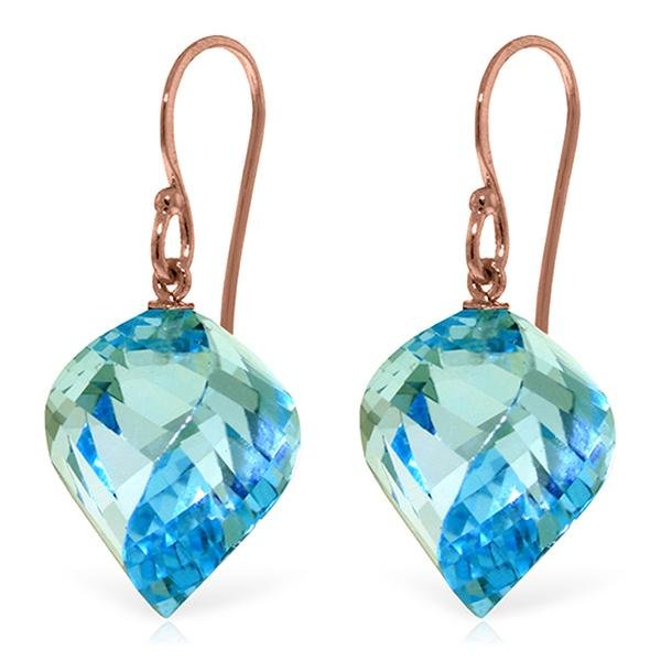Genuine 27.8 ctw Blue Topaz Earrings Jewelry 14KT Rose