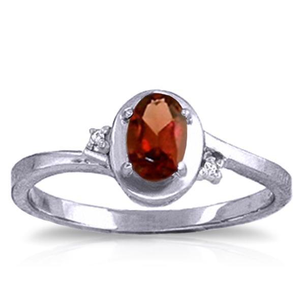 Genuine 0.51 ctw Garnet & Diamond Ring Jewelry 14KT