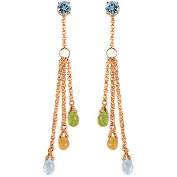 Genuine 5.75 ctw Blue Topaz Earrings Jewelry 14KT Rose