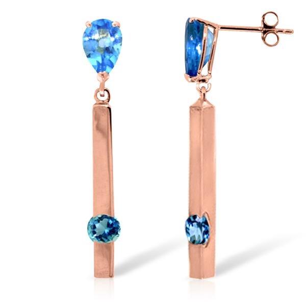 Genuine 4.25 ctw Blue Topaz Earrings Jewelry 14KT Rose