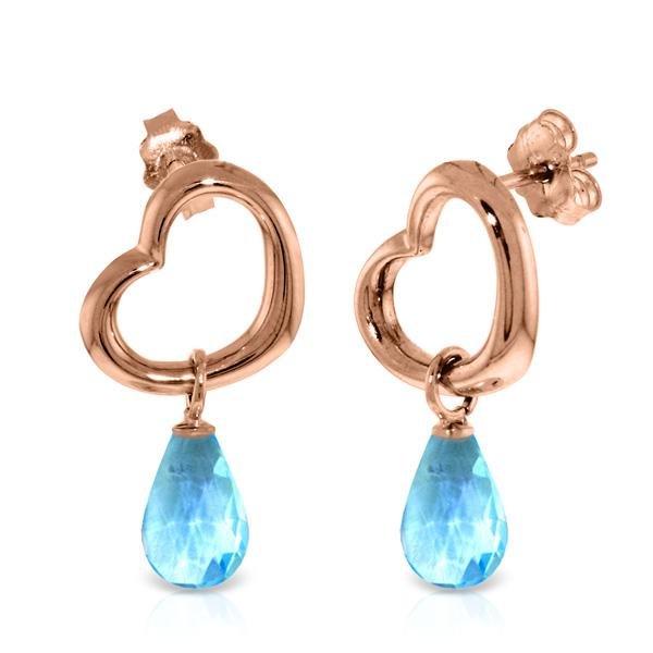 Genuine 4.5 ctw Blue Topaz Earrings Jewelry 14KT Rose
