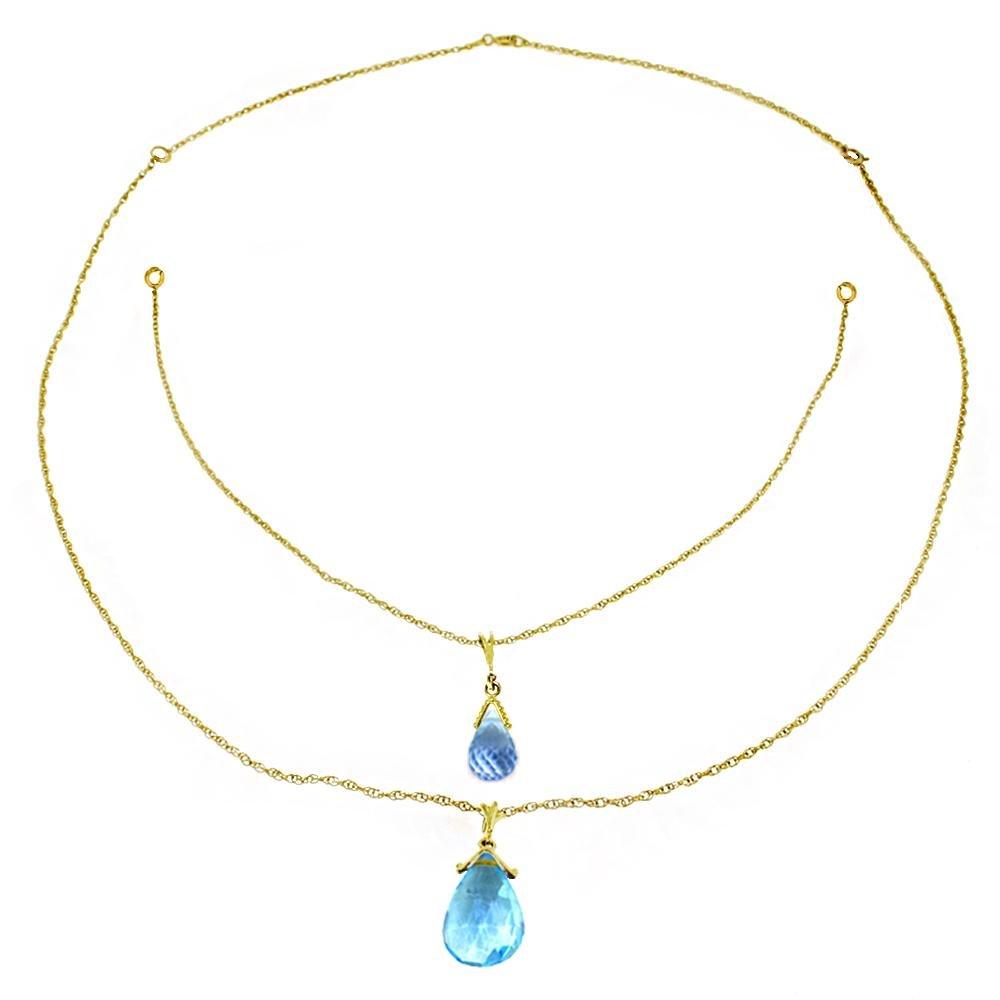 Genuine 7.5 ctw Blue Topaz Necklace Jewelry 14KT Rose