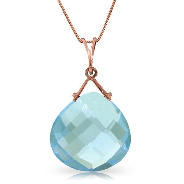 Genuine 8.5 ctw Blue Topaz Necklace Jewelry 14KT Rose