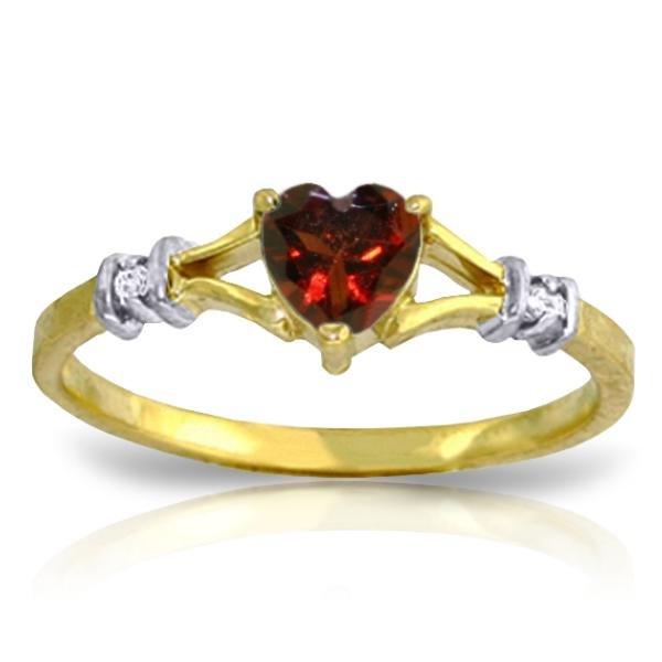 Genuine 0.47 ctw Garnet & Diamond Ring Jewelry 14KT