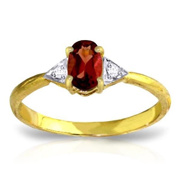 Genuine 0.46 ctw Garnet & Diamond Ring Jewelry 14KT