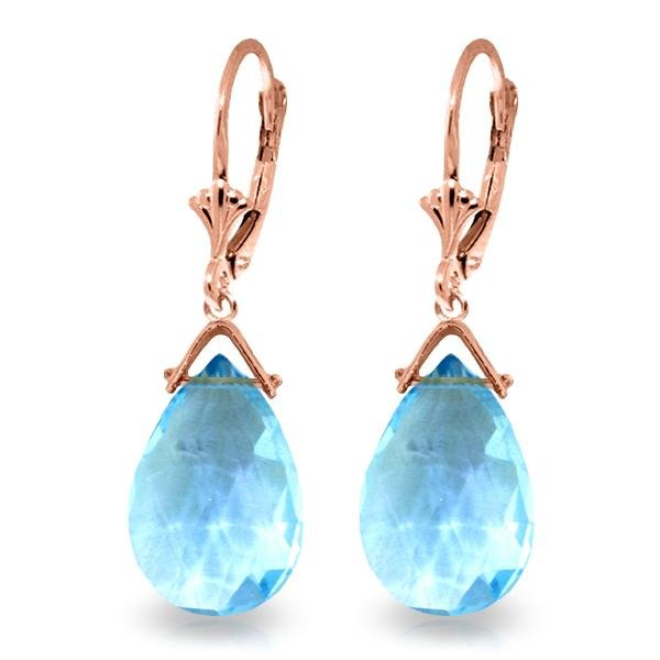 Genuine 10.20 ctw Blue Topaz Earrings Jewelry 14KT Rose
