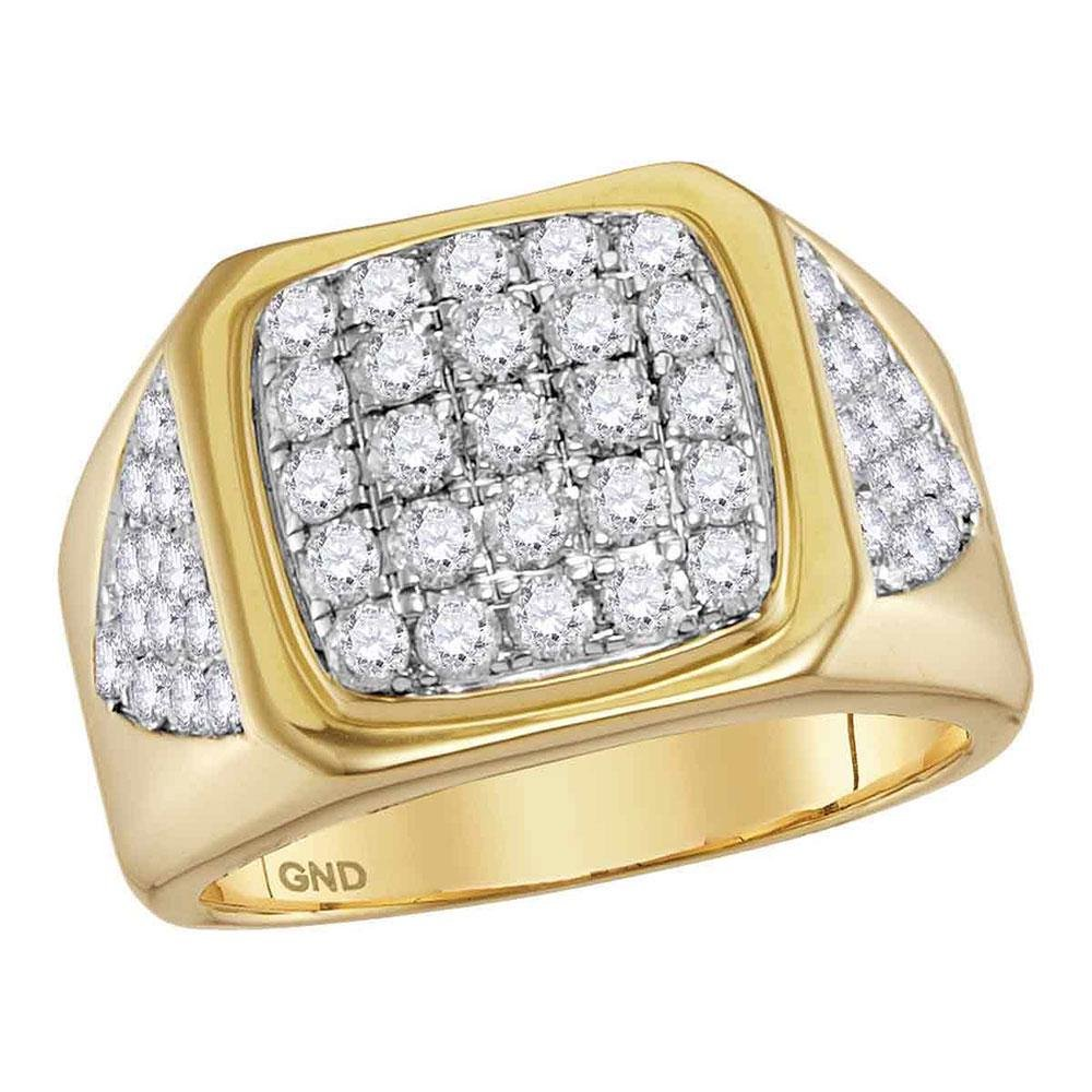 2.3 CTW Mens Diamond Square Cluster Ring 14KT Yellow