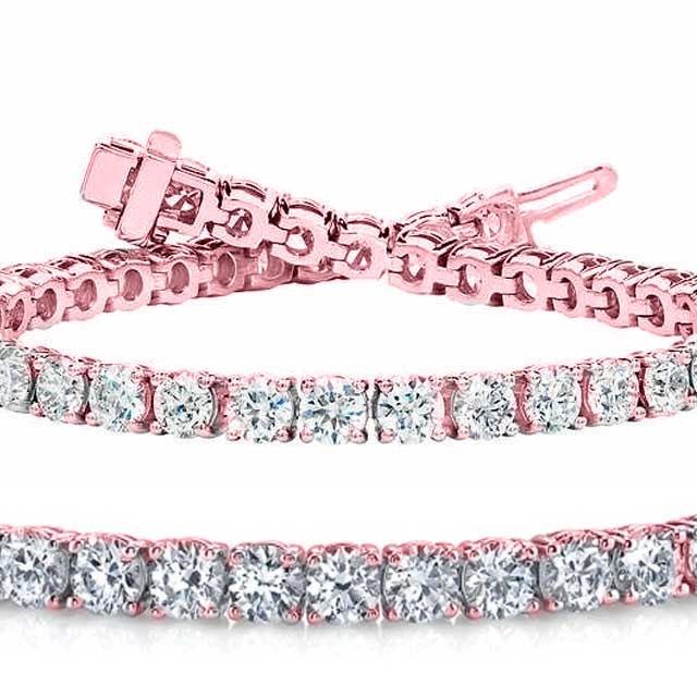 Natural 10ct VS-SI Diamond Tennis Bracelet 14K Rose