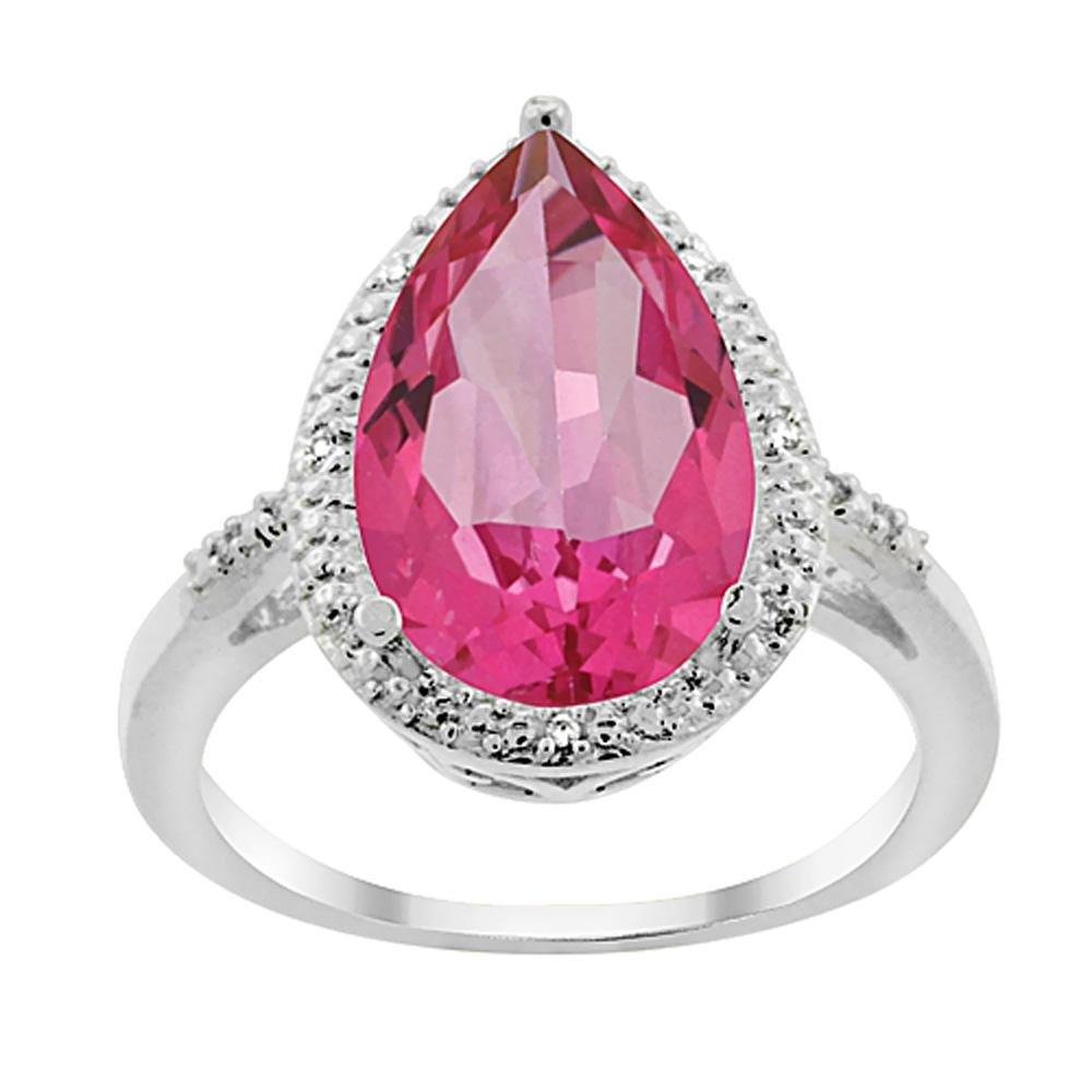 5.55 CTW Pink Topaz & Diamond Ring 10K White Gold -