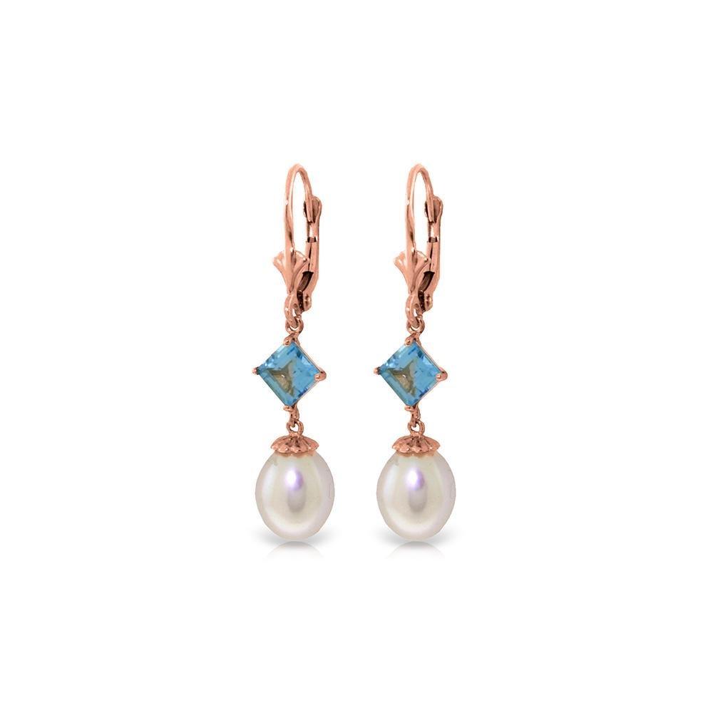Genuine 9.5 ctw Blue Topaz Earrings 14KT Rose Gold -