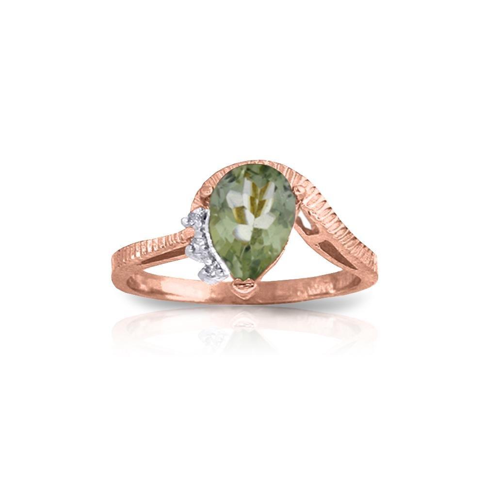 Genuine 1.52 ctw Green Amethyst & Diamond Ring 14KT