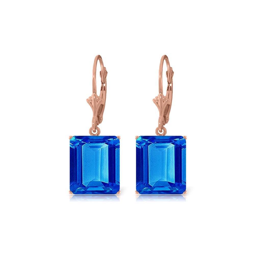 Genuine 13 ctw Blue Topaz Earrings 14KT Rose Gold -