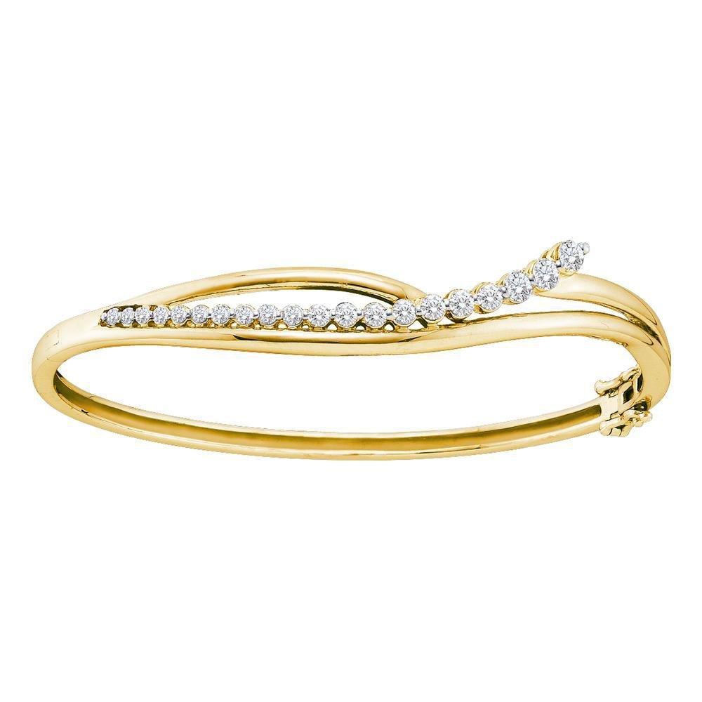 1 CTW Diamond Journey Bangle 14K Yellow Gold -