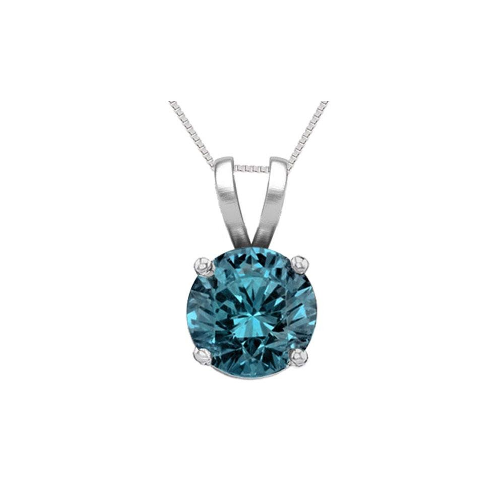 14K White Gold 1.01 ct Blue Diamond Solitaire Necklace