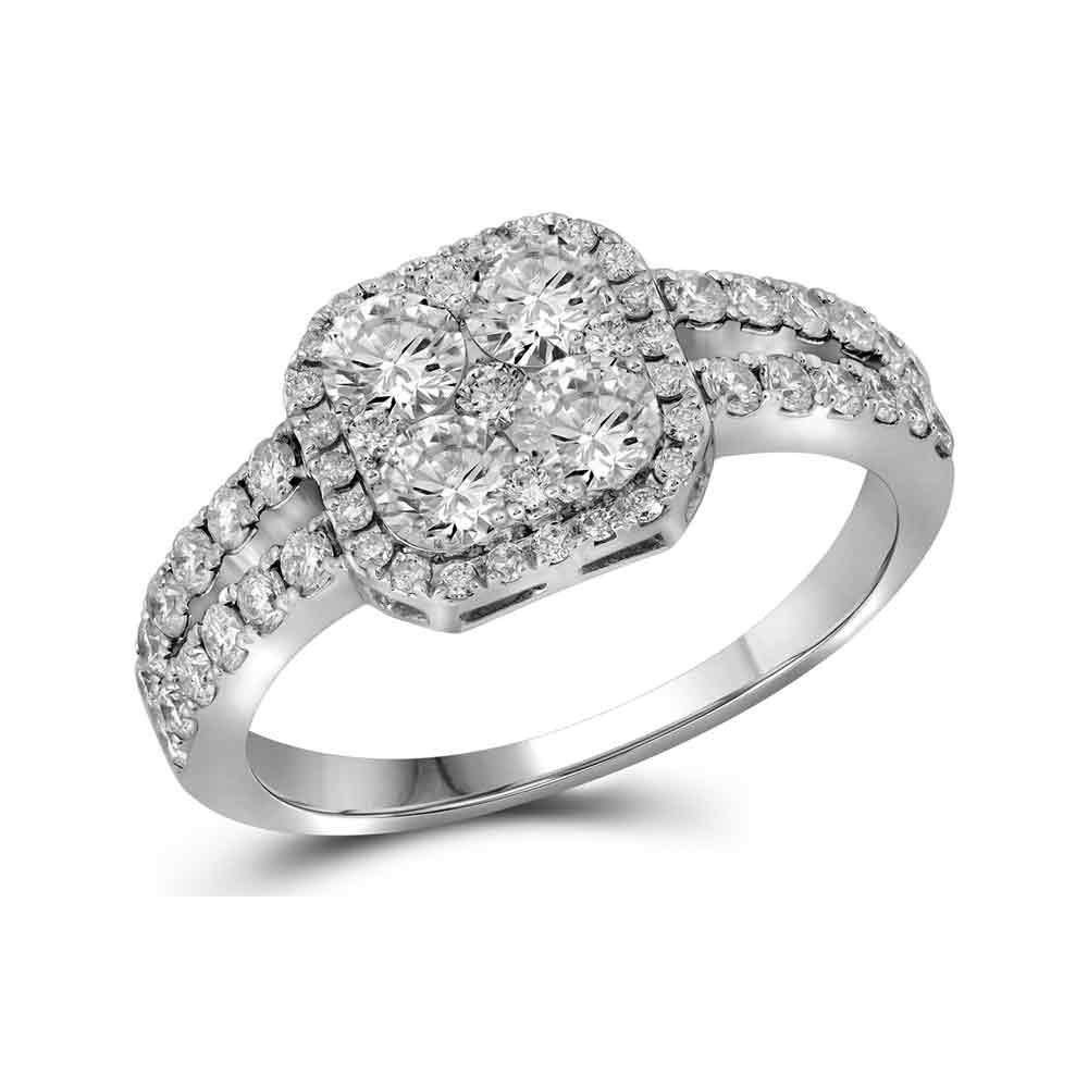 1.25 CTW Diamond Square-Shape Cluster Split-Shank Ring