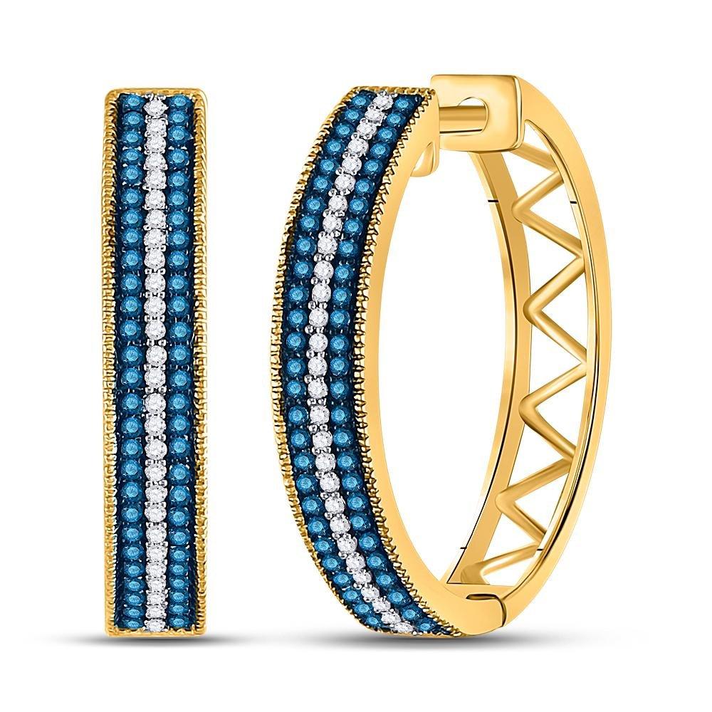 0.50 TCW Blue Diamond & White Diamond Hoop Earrings 10K