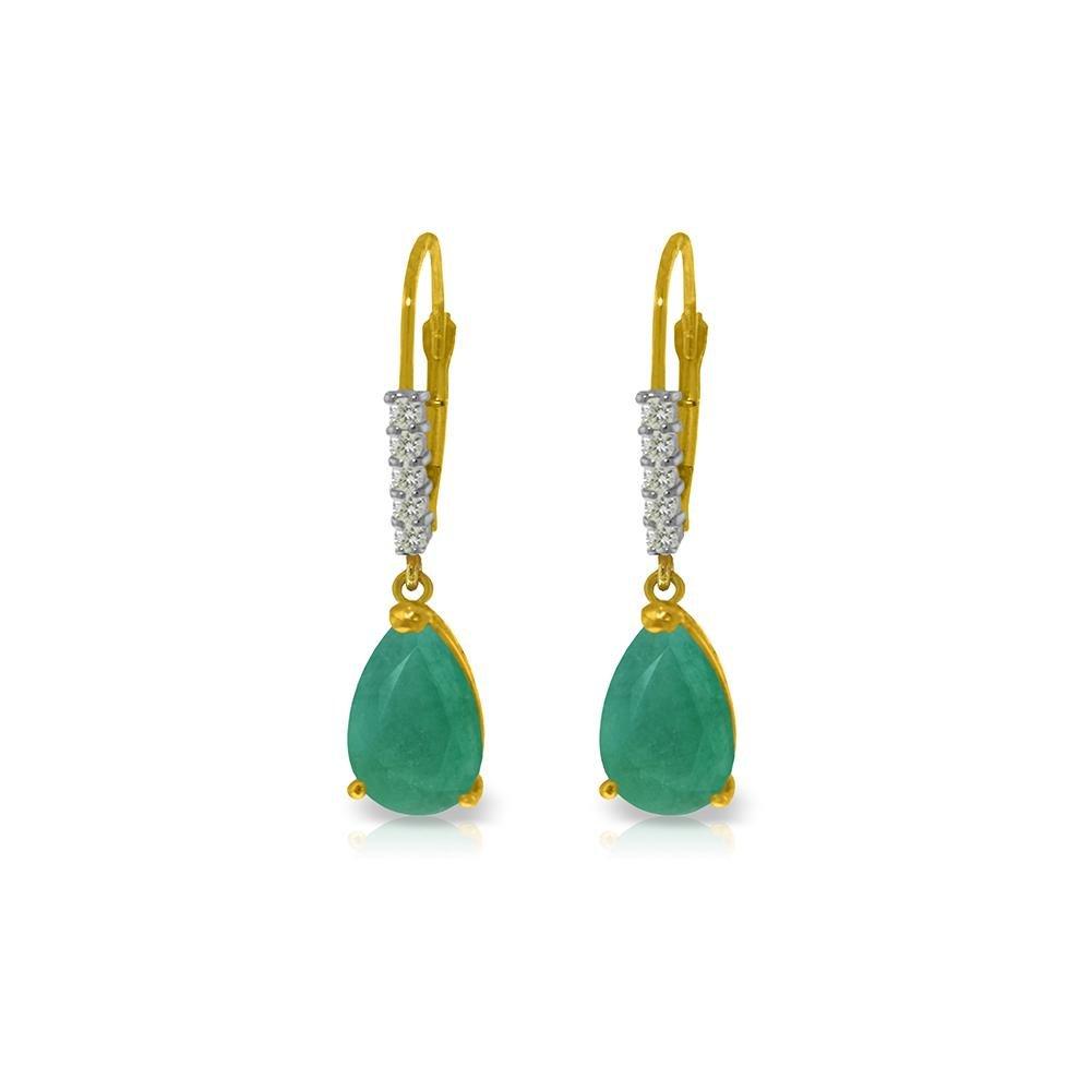 Genuine 2.15 ctw Emerald & Diamond Earrings 14KT Yellow