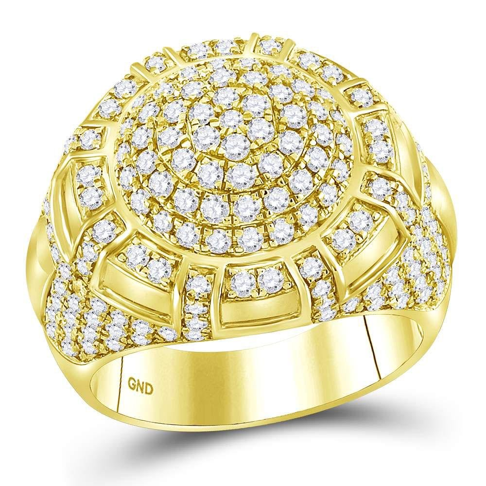 3 CTW Diamond Mens Ring 14K Yellow Gold - REF-296H7M