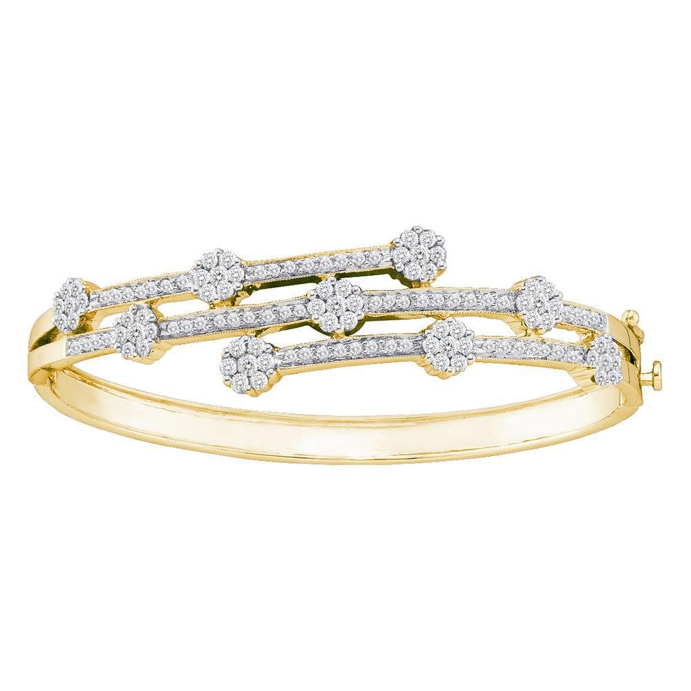 2.5 CTW Diamond Flower Bangle 14K Yellow Gold -